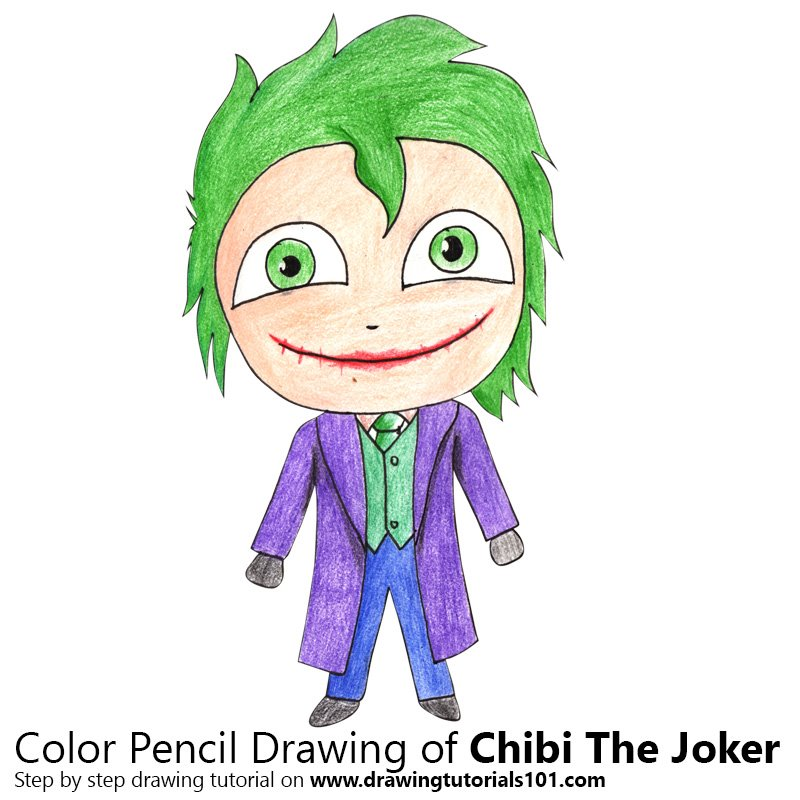 Chibi The Joker Color Pencil Drawing