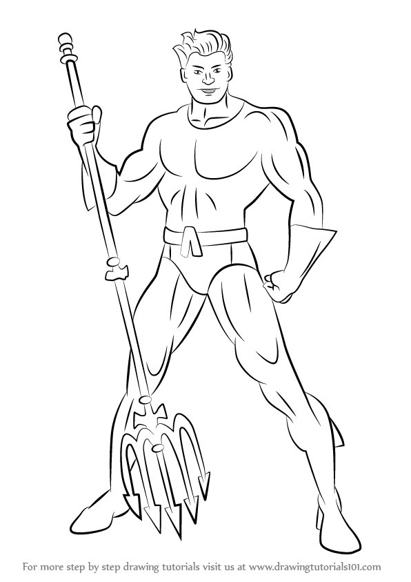 Learn How To Draw Aquaman (DC Comics) Step By Step  Drawing Tutorials