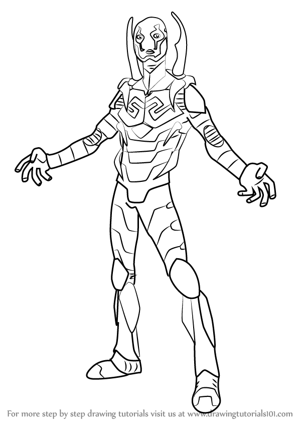 Step by step how to draw blue beetle for Blue beetle coloring pages