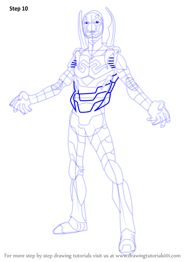 Learn how to draw blue beetle dc comics step by step for Blue beetle coloring pages