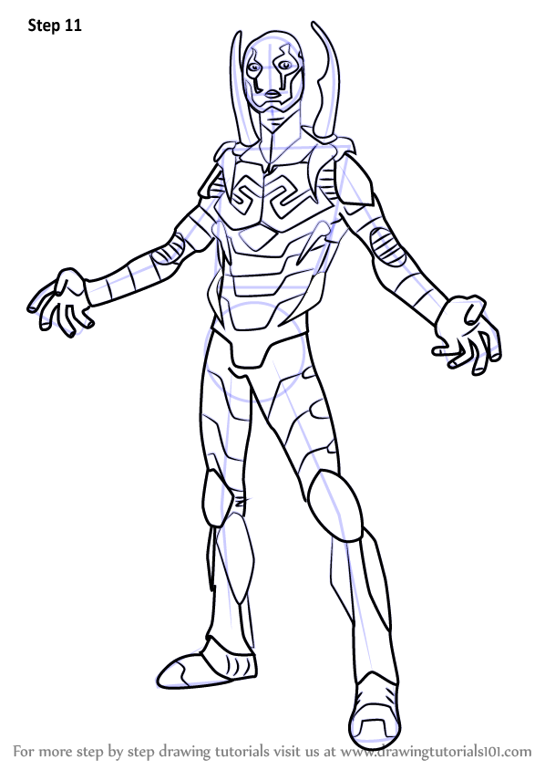 Learn How To Draw Blue Beetle Dc Comics Step By Step