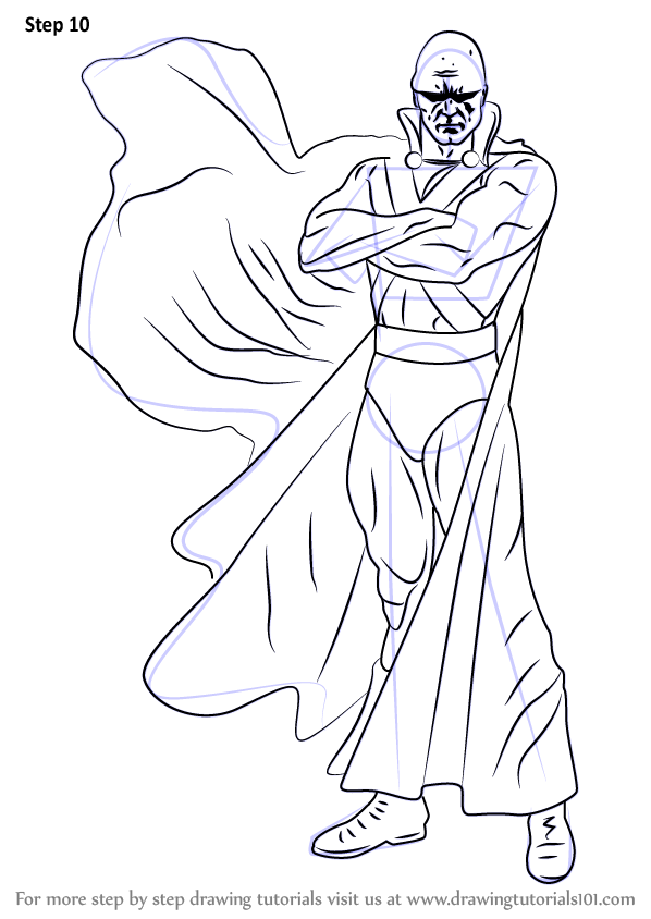 martian manhunter coloring pages - step by step how to draw martian manhunter