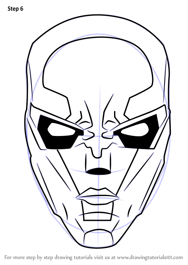 Learn How To Draw New 52 Red Hood Mask Dc Comics Step By Step Drawing Tutorials