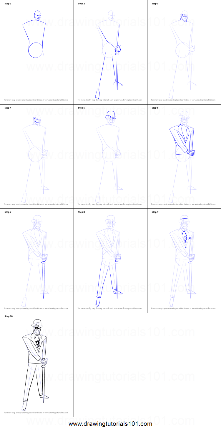 Line Drawing Riddles : How to draw the riddler printable step by drawing