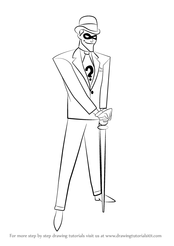 learn how to draw the riddler  dc comics  step by step   drawing tutorials