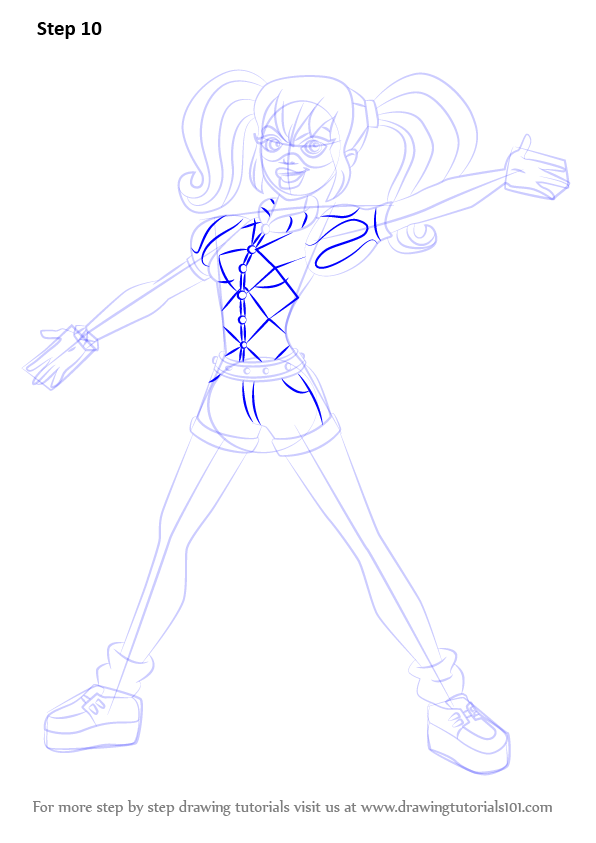 learn how to draw harley quinn from dc super hero girls