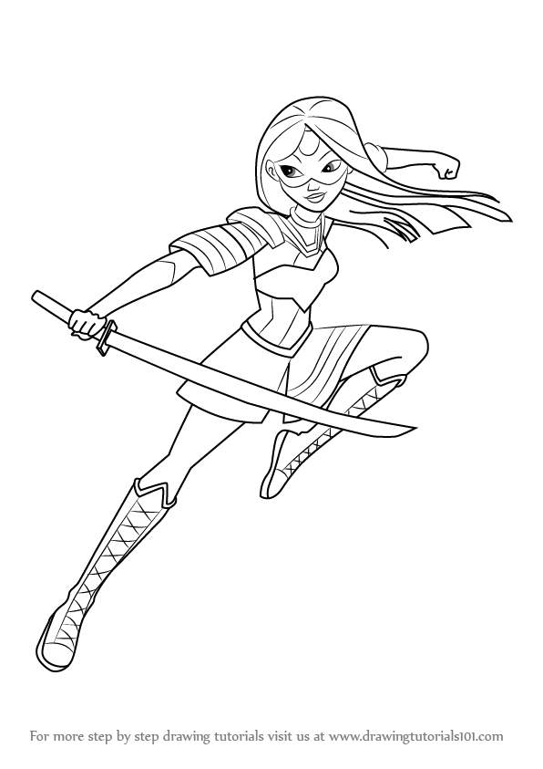 learn how to draw katana from dc super hero girls dc super hero girls step by step drawing tutorials - Superhero Girl Coloring Pages