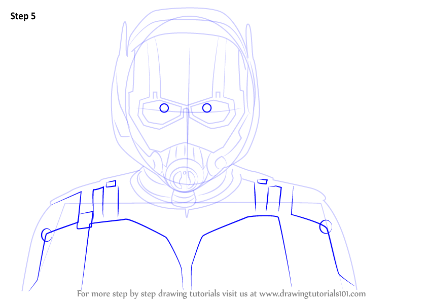Learn How To Draw Ant Man Face Marvel Comics Step By Step