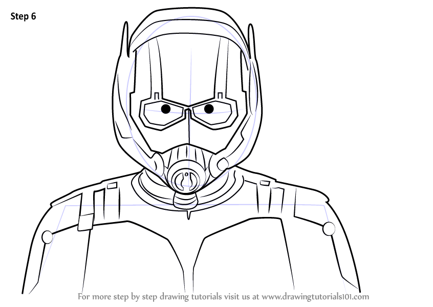 Learn How To Draw Ant Man Face Marvel Comics Step By