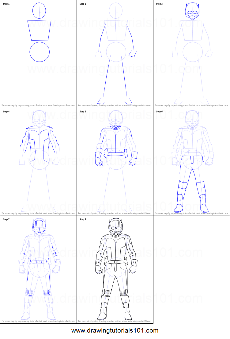 How to draw ant man printable step by step drawing sheet drawingtutorials101 com