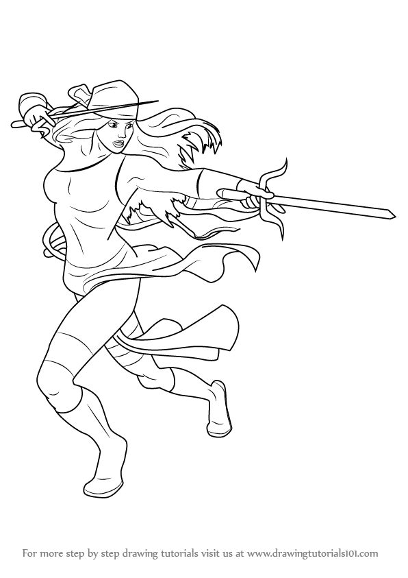 elektra coloring pages - learn how to draw elektra natchios marvel comics step by