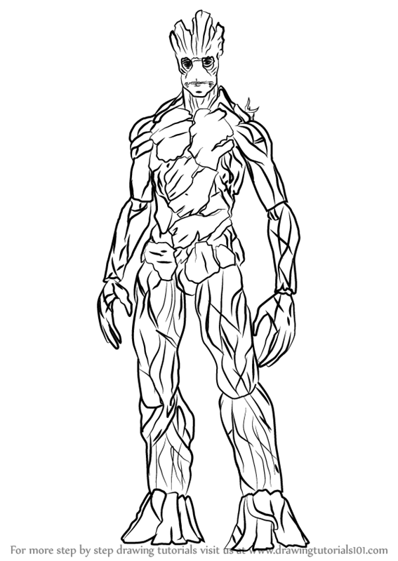 Learn How to Draw Groot (Marvel Comics) Step by Step : Drawing ...