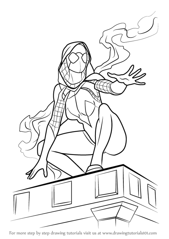 Step by Step How to Draw SpiderGwen