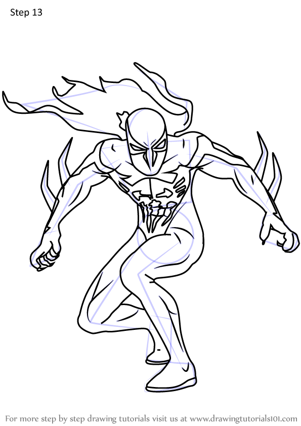 Learn How To Draw Spider Man 2099 Marvel Comics Step By