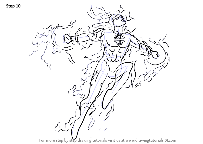Step By Step How To Draw The Human Torch