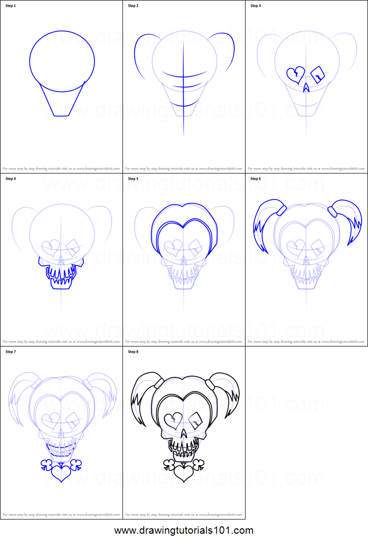 How To Draw Harley Quinn From Suicide Squad Printable Step By Step