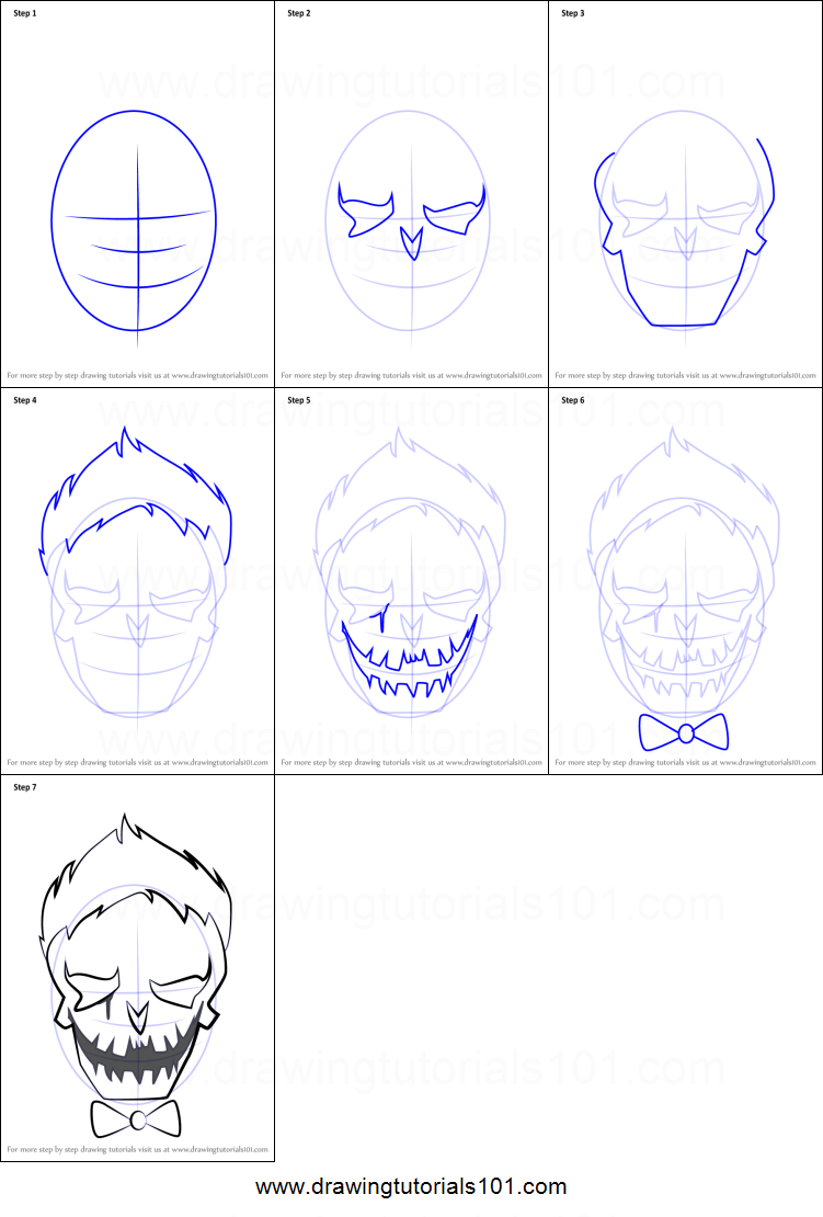 How To Draw Joker From Suicide Squad Printable Step By