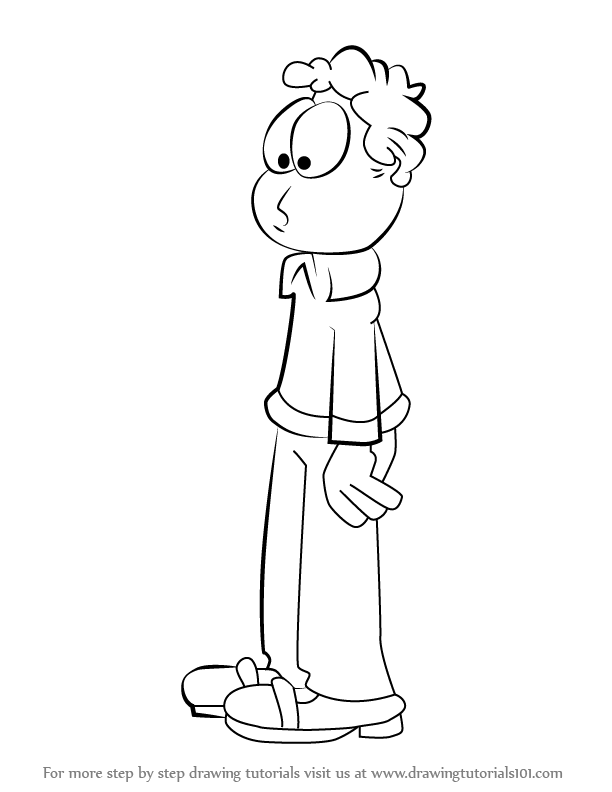 Learn How To Draw Jon Arbuckle From Garfield Garfield Step By Step Drawing Tutorials