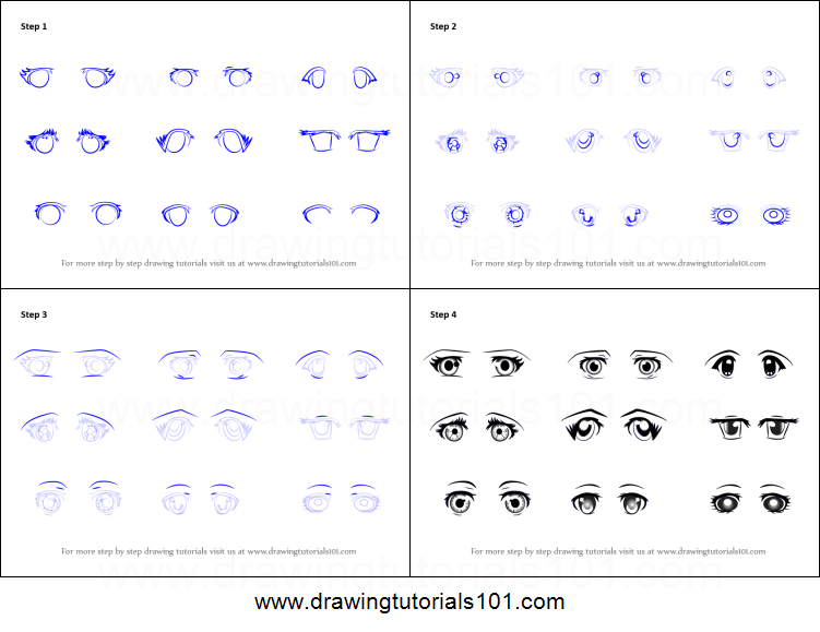 How to draw anime eyes female printable step by step drawing sheet drawingtutorials101 com