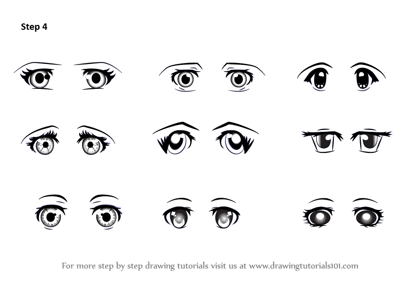 Learn How To Draw Anime Eyes - Female (Eyes) Step By Step  Drawing Tutorials