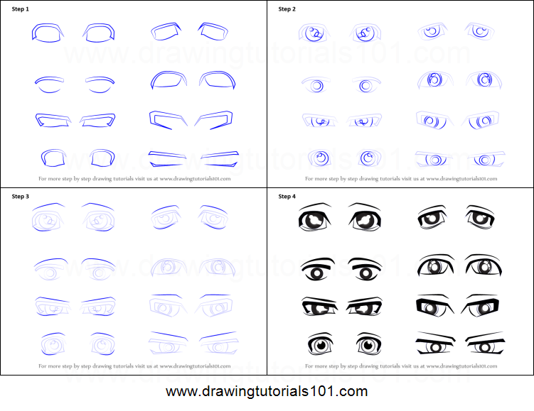 how to draw anime eyes male printable step by step drawing sheet