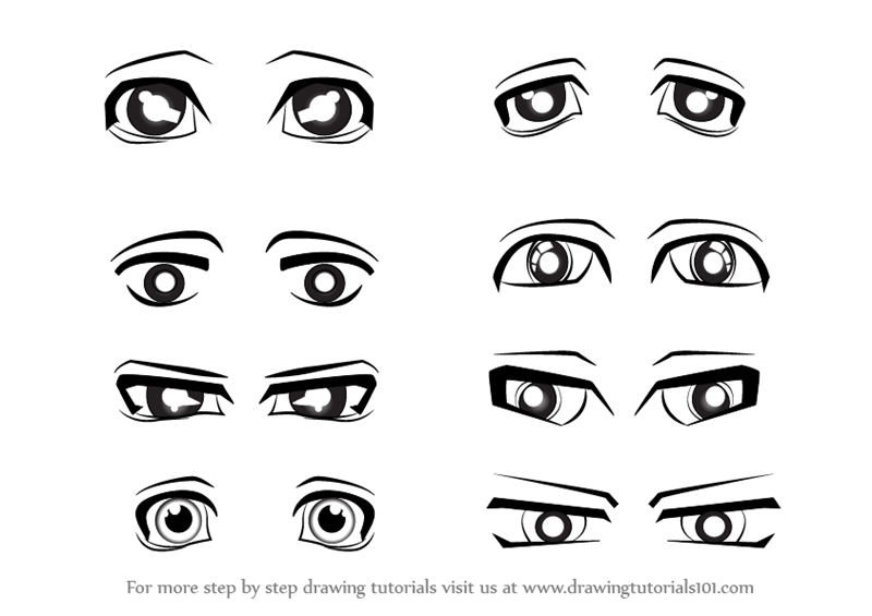 Learn How To Draw Anime Eyes Male Eyes Step By Step Drawing