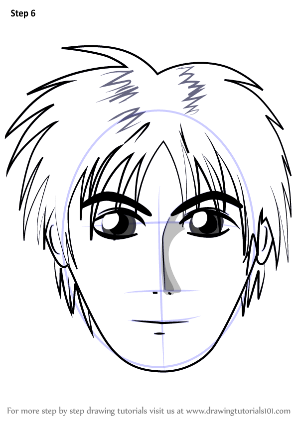Learn How To Draw Anime Boy Face Face Step By Step