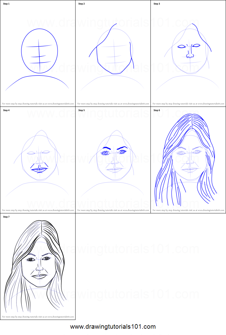 Step by step drawing tutorial on how to draw female face with hair