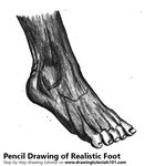 How to Draw Realistic Foot with Pencils