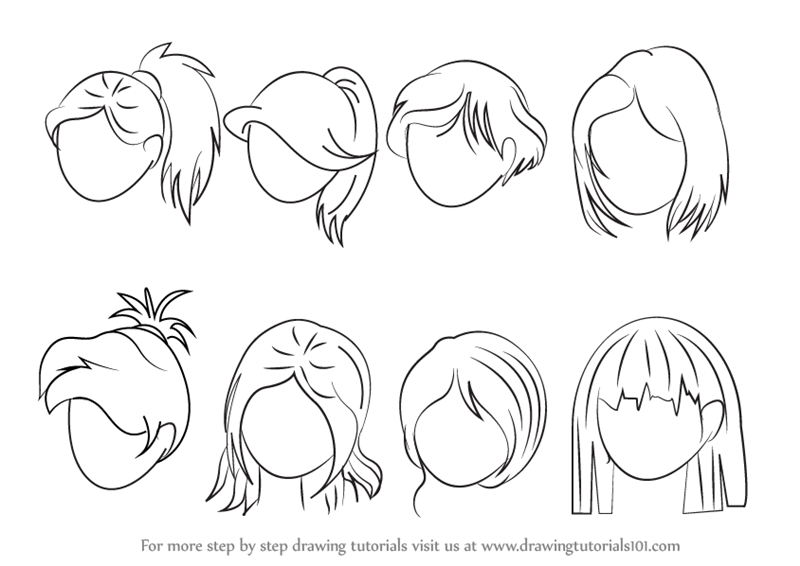 Learn how to draw anime hair female hair step by step for Learn to draw cartoons step by step lessons