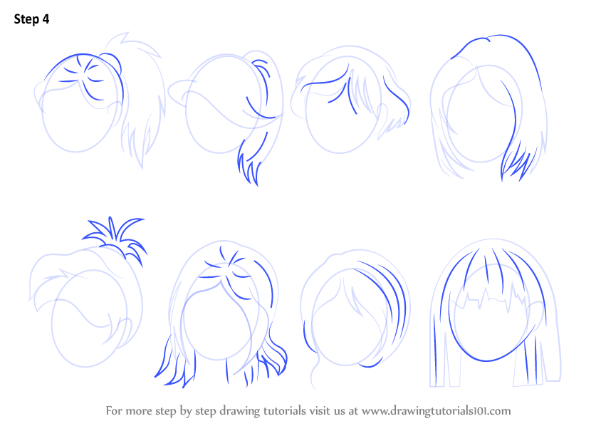 Learn How to Draw Anime Hair - Female (Hair) Step by Step ...