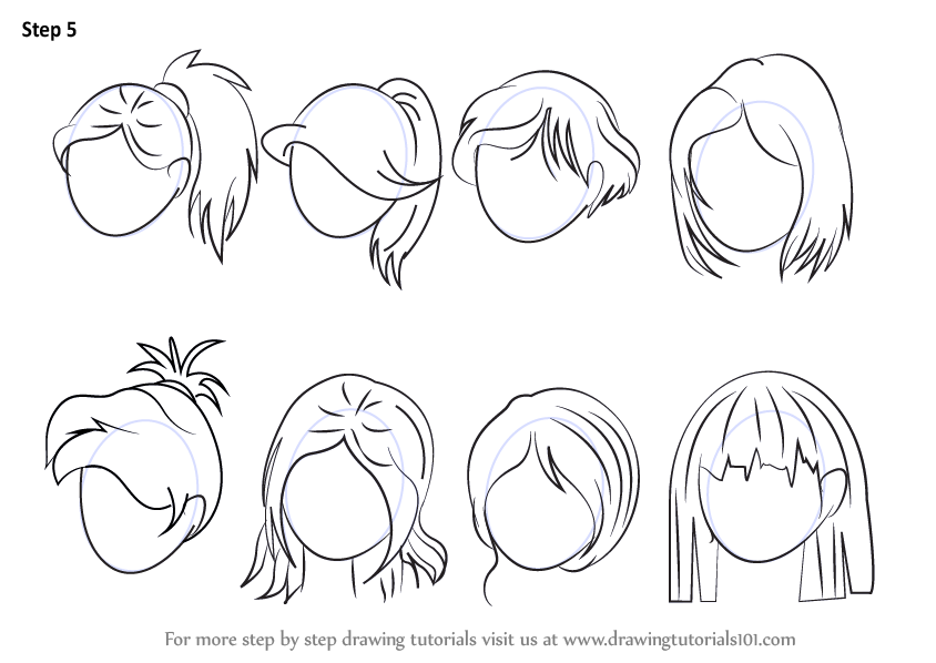 Learn How To Draw Anime Hair Female Hair Step By Step