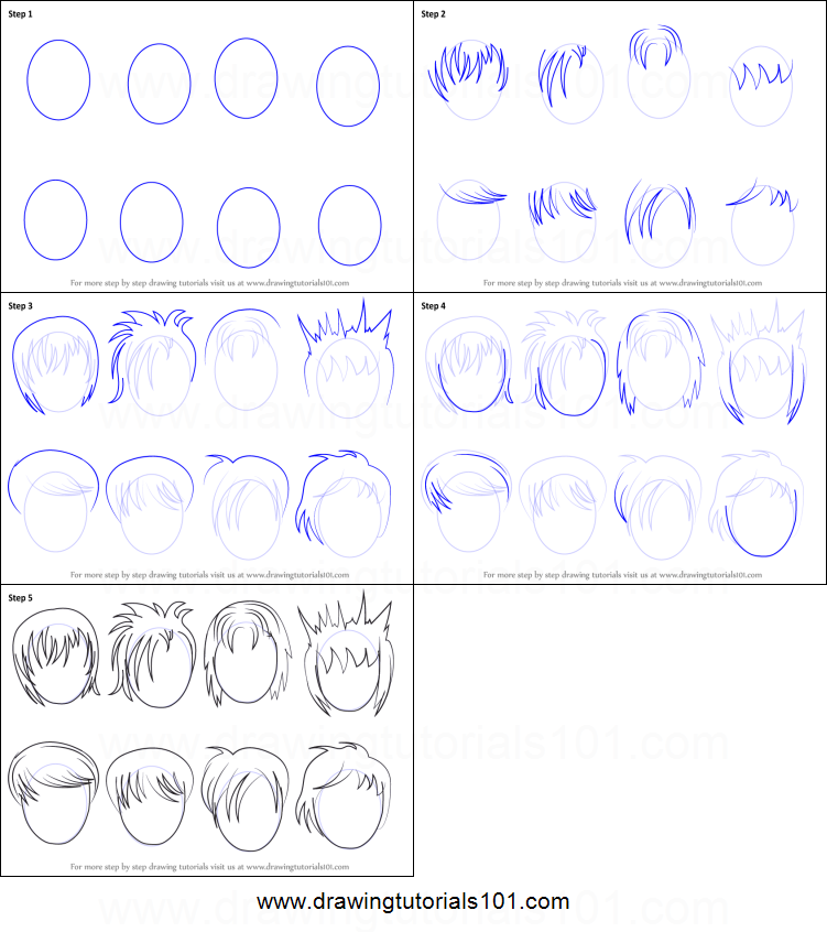 how to draw anime hair male printable step by step