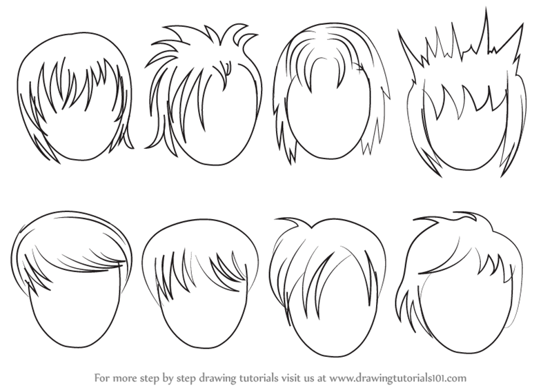 learn how to draw anime hair male hair step by step drawing tutorials