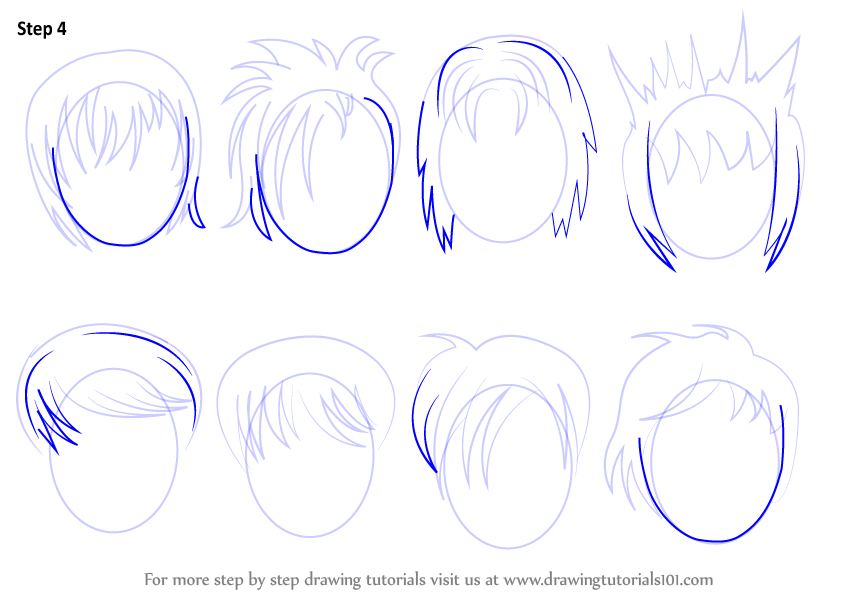 learn how to draw anime hair male hair step by step