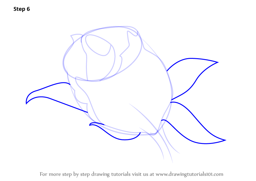 how to draw a rose bud easy