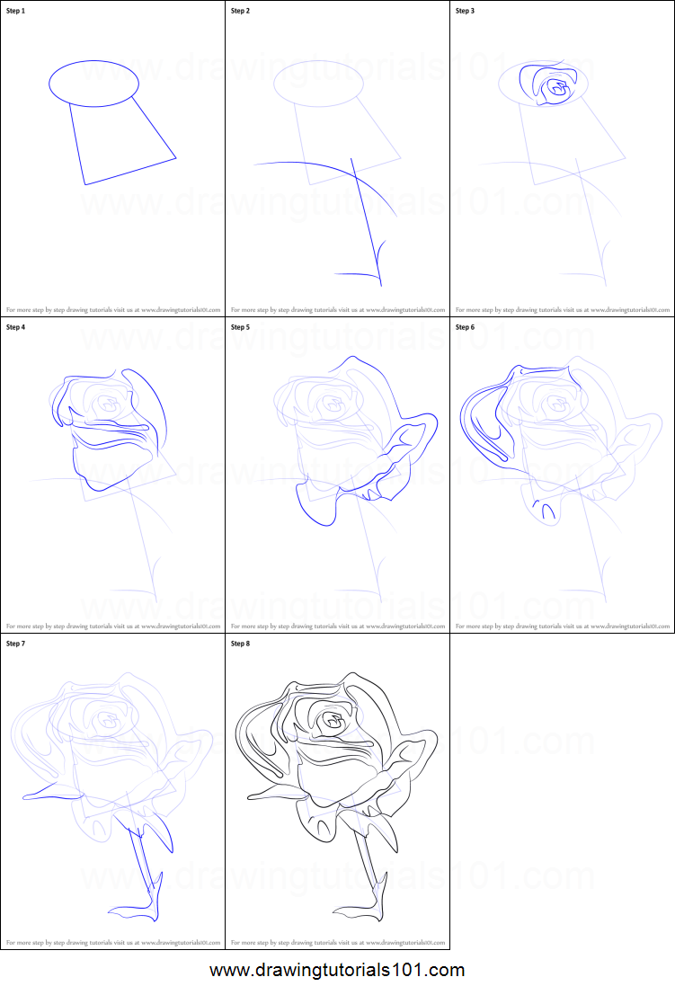 How To Draw A Rose Flower Printable Step By Step Drawing