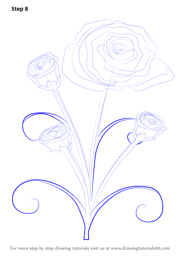 learn how to draw a rose plant rose step by step