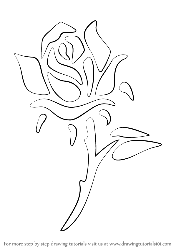 Learn how to draw a rose tattoo rose step by step for How to draw a rose bush step by step