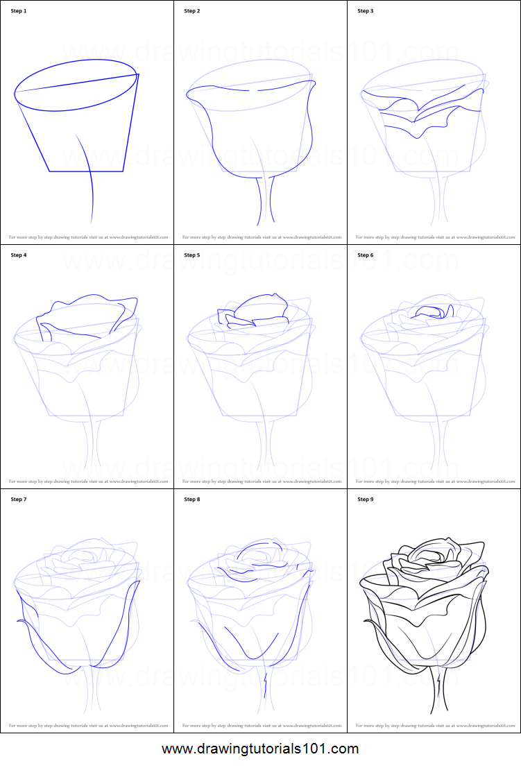 How To Draw A Rose With Stem Printable Step By Step