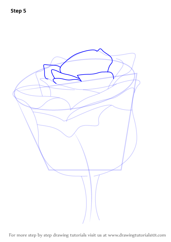 Learn how to draw a rose with stem rose step by step for How to draw a rose bush step by step
