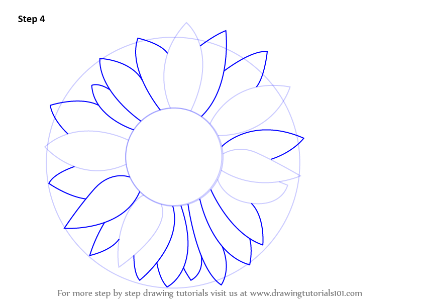 Learn How To Draw A Sunflower Sunflower Step By Step