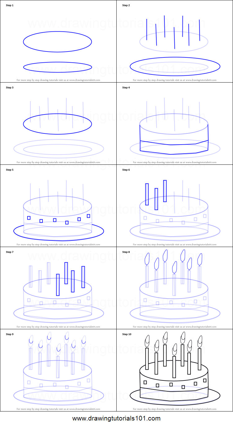 How To Draw Birthday Cake For Kids Printable Step By Step Drawing
