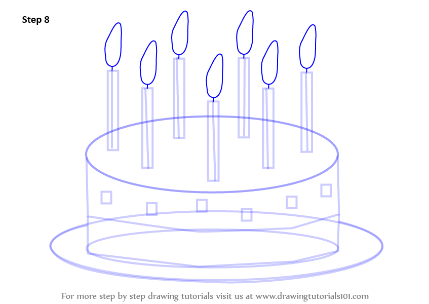 Images Of Cake To Draw : Learn How to Draw Birthday Cake for Kids (Cakes) Step by ...