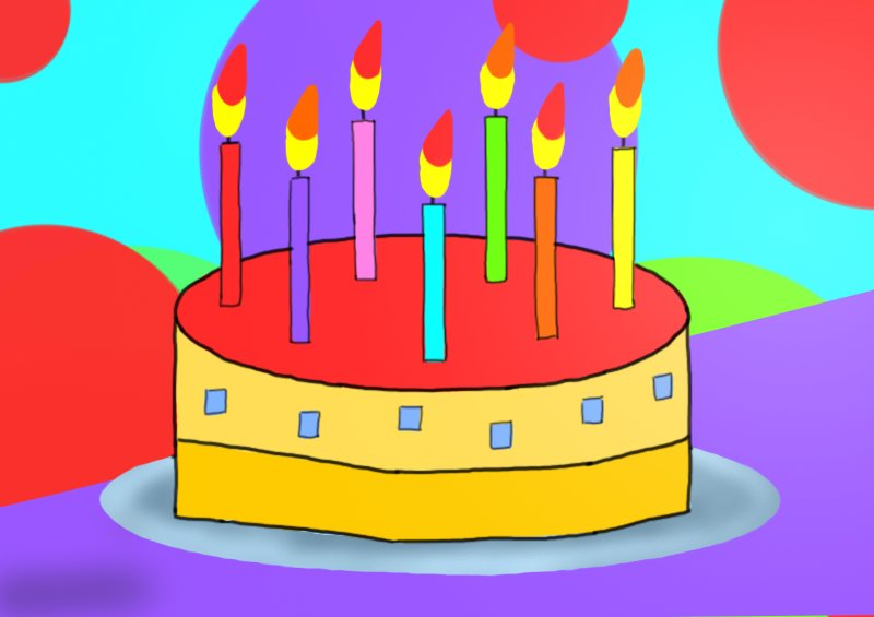 how to draw birthday cake for kids
