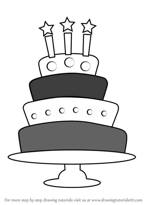 Step By Step How To Draw A Birthday Cake With Candles
