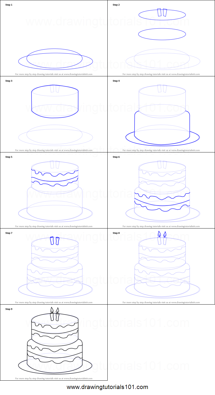 How To Draw A Birthday Cake Printable Step By Step Drawing Sheet Drawingtutorials101 Com