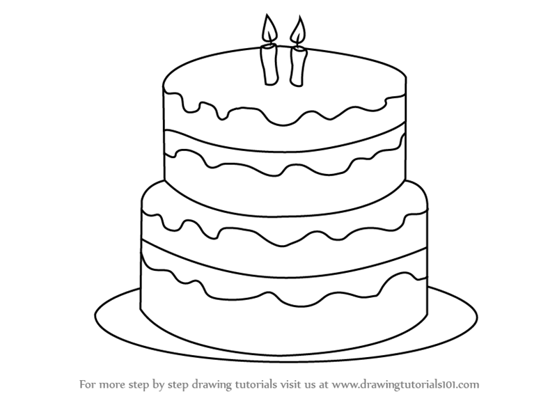 Pictures Of Birthday Cakes Drawings : Learn How to Draw a Birthday Cake (Cakes) Step by Step ...