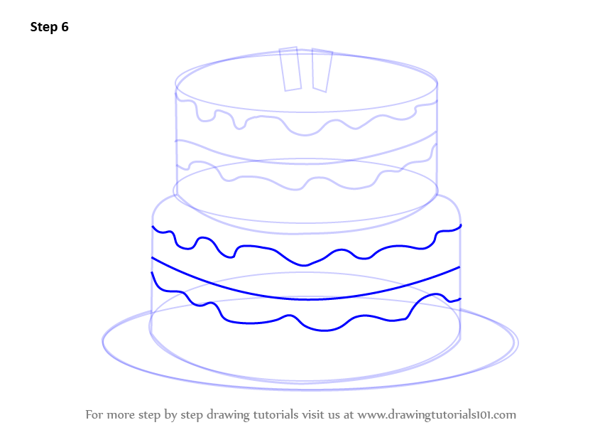 Cake Images For Birthday Drawing : Learn How to Draw a Birthday Cake (Cakes) Step by Step ...