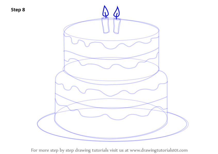 Cake Images Step By Step : Learn How to Draw a Birthday Cake (Cakes) Step by Step ...
